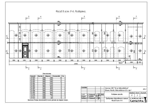 Монтажная схема фасада
